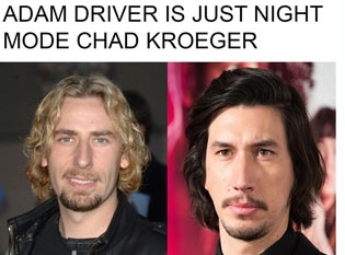 a meme with chad kroger and adam driver