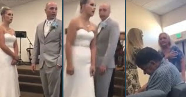 a couple getting married and mother objecting
