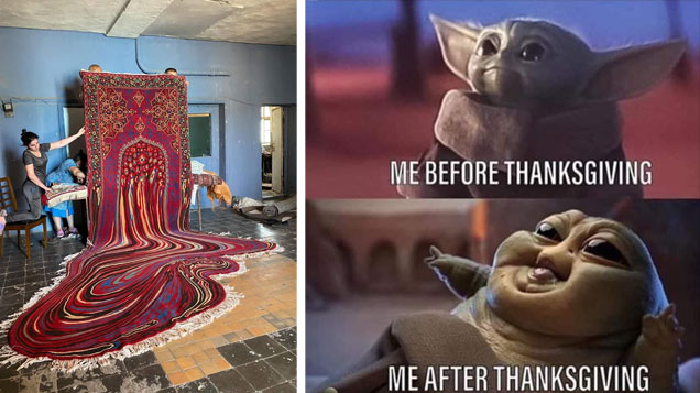 a huge rug being woven that looks like its melting and a baby yoda baby jabba the hut meme