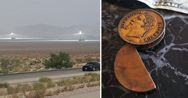 odd things -  old coin lighter -  lights in the desert are part of a steam factory
