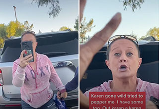 two karens face-off in a parking lot in what is the best Karen video of all time