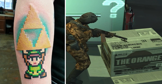 link holding up triforce tattoo - metal gear solid orange box