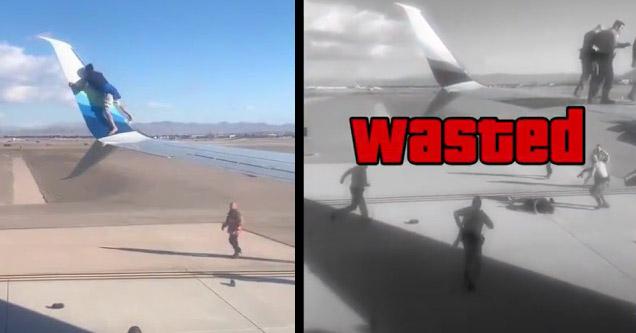 Человек падает с крыла самолета в аэропорту Лас-Вегаса