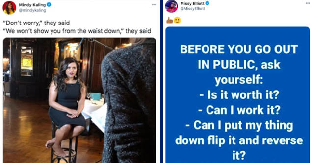 mindy kailing feet - Mindy Kaling 'Don't worry,' they said 'We won't show you from the waist down,' they said . Twitter for iPhone | questions to ask - Dbg Missy Elliott Elliott Before You Go Out In Public, ask yourself Is it worth it? Can I work it? Can