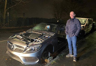 "Paul Hampton had his <a href=""https://www.ebaumsworld.com/pictures/karen-wrecks-her-jeep-without-insurance-wants-the-other-driver-to-pay-for-it/86078680/""><strong>Mercedes</strong></a> C-Class AMG ransacked in the middle of the night and the <a href=""https://www.ebaumsworld.com/pictures/16-thieves-admit-their-biggest-hauls/85199773/""><strong>thieves stole</strong></a> almost everything but the car itself.  They got away with the doors, the hood, his seats, the tires, and even his trunk. According to the insurance company, the damage is 19k in total."