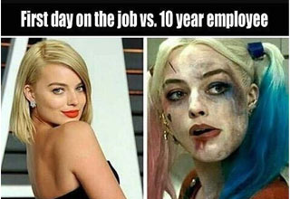 first day vs 10 year employ margot robbie work meme