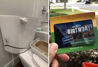 broken toilet water tank - guy holding expired blockbuster gift card
