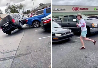 kid runs away from his second car accident in the matter of minutes