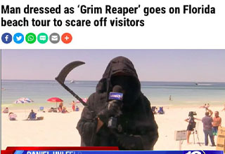 wtf florida man 2020 - man dressed as grim reaper goes on florida beach tour to scare off visitors