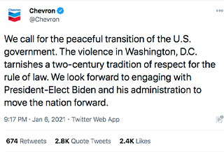 Hell hath frozen over! Trump loyalists attack Chevron after the company tweeted out a message for the controversial opinion of maintaining democracy through the peaceful transition of power. There is nothing you can tell these people to convince them out of their cult mentality.