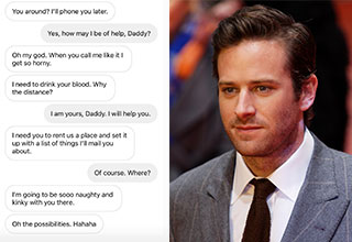 """*Warning: NSFW Themes* <a href=""""https://www.ebaumsworld.com/articles/armie-hammer-creeps-out-the-internet-with-a-video-of-his-son-sucking-his-toes/86028182/""""><strong>Armie Hammer</strong></a> remains silent after alleged DMs leak on Instagram. The DMS appear to show the actor beggaing for 'blood' and living out his fantasies of control."""