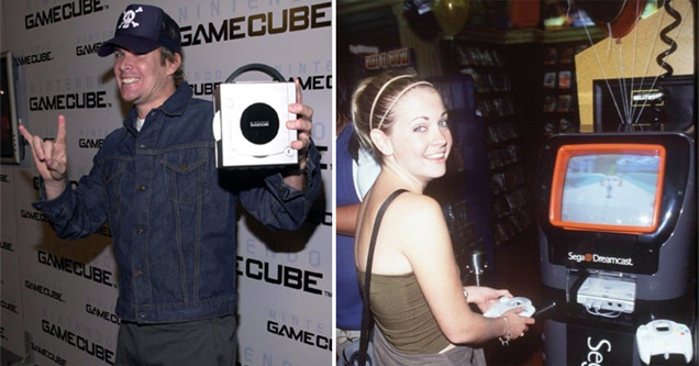 mark mcgrath from sugar ray holding a nintendo gamecube - melissa joan hart playing dreamcast video game console