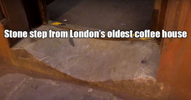 the passage of time -  stone steps in front of London's oldest coffee houses