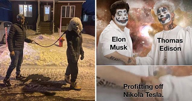 internet randoms -  man walking his human dog - elon musk thomas edison - profiting off of Nikola Tesla