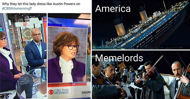 dank memes -  austin powers looking news anchor -  the titantic sinking - america - memelords playing violin
