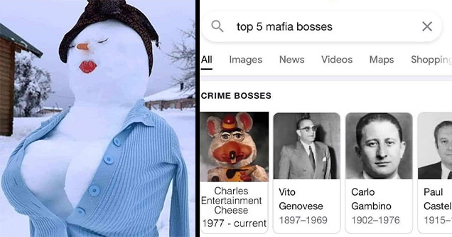 snowman boobs chucky cheese mafia