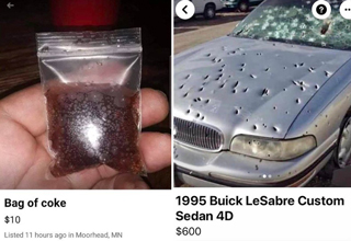 bag of coke coca-cola facebook marketplace listing - 1995 buick lesabre custom sedan with bullet holes in it