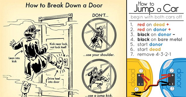infographics - how to break down a door - how to jump a car