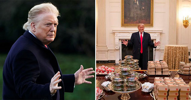 Trump moments -  orange face -  Trump feeding the Clemson Tigers McDonalds