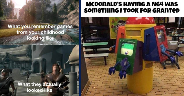 skyrim 1 game - What you remember games from your childhood looking fike What they actually looked | mcdonald's nintendo 64 - Mcdonald'S Having A N64 Was someTHING I Took For Granted Throwback