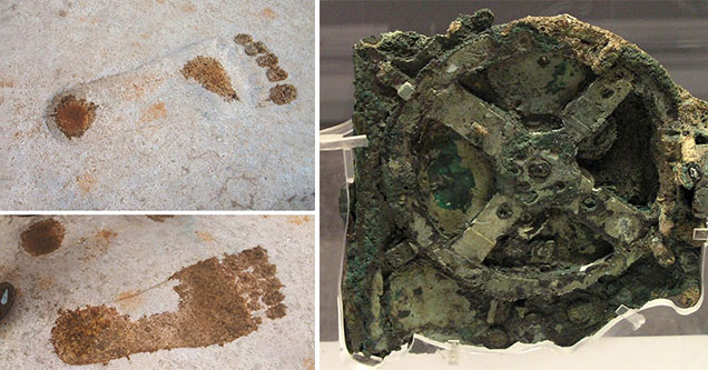 discoveries that still to this day confuse and perplex scientists - old foot prints -  mechanism found at the bottom of the sea