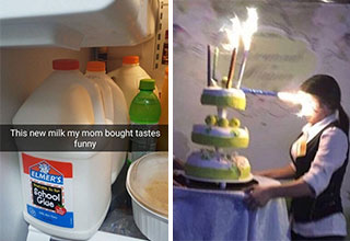 nailed it -  the new milk mom bought tastes funny - elmers glue -  cake firework pointing right into a woman's face