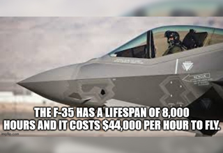 the f-35 fighter jet has a lifespan of 8,000 hours and it costs $44,000 per hour to fly