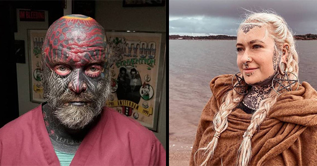 man completely covered in face tattoos | blonde girl braids tattoos