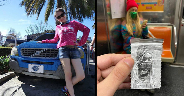 fun killer pics | gum wrapper drawing of girl girl lego volvo