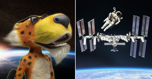 chester cheeto in outer space - international space station