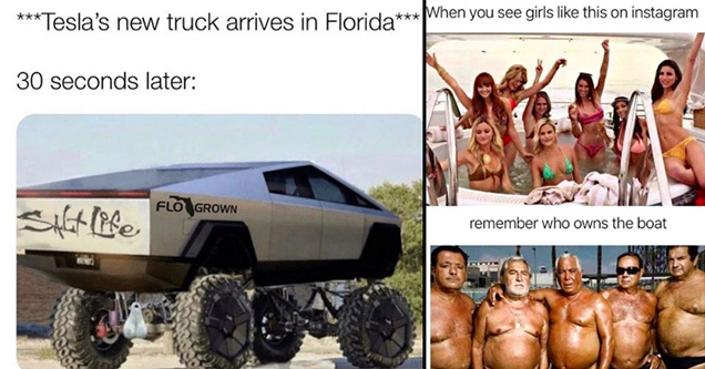 tesla's new truck arrives in florida. 30 seconds later - when you see girls like this on instagram - When you see girls this on instagram remember who owns the boat
