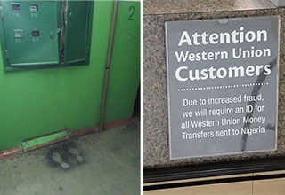 nailed it -  two feet prints on the ground where someone electrocuted themselves - attention customers -  Ids will be required for people sending money to Nigeria