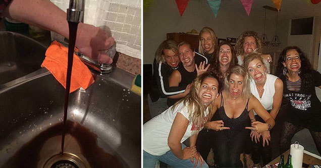 wtf pics -  brown liquid coming out of a faucet -  group of women wearing dental stretchers