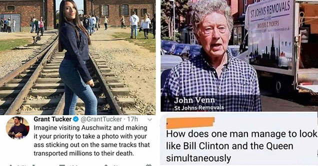 savage comments -  woman posing for a photo at Auschwitz - how can someone look like both bill clinton and the queen