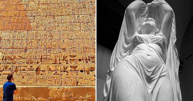 fascinating photos - man looking at a wall of ancient Egyptian symbols -  woman carved out of marble
