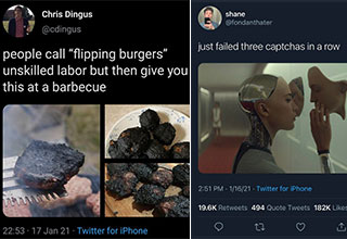 hot takes from twitter -  people call flipping burgers unskilled labor and go and serve you this at a BBQ - after you fail your 3rd captcha