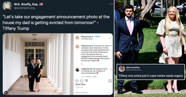 Тиффани Трамп помолвлен сегодня, и все бросились на нее