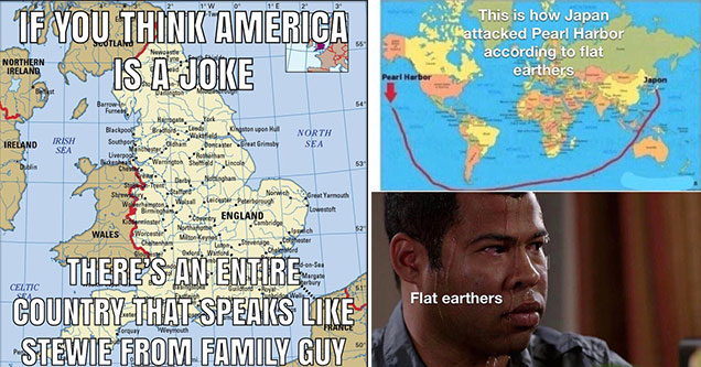 this is how Japan attacked Pearl Harbor to the flat earthers -  flat earthers - sweating jordan peele - if you think America is a joke remember there is an entire country of people who talk like Stewie from Family Guy