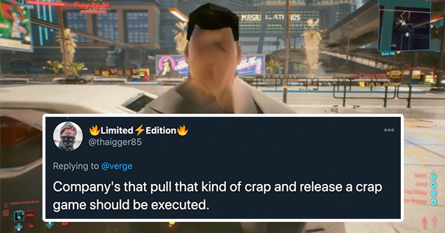 cyberpunk 2077 video game glitch screenshot - companies that pull that kind of crap and release a crap game should be executed