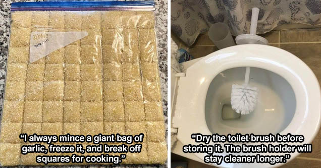 freeze garlic Zidoo 316.50 - I always mince a giant bag of garlic, freeze it, and break off squares for cooking. | dry toilet brush - Dry the toilet brush before storing it. The brush holder will stay cleaner longer.