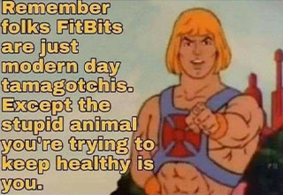 remember folks fitbits are just tamagatchis except the stupid animals you're keeping alive is you
