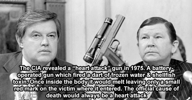cia heart attack gun - CIA revealed a 'heart attack' gun in 1975. A battery operated gun which fired a dart of frozen water & shellfish toxin. Once inside the body it would melt leaving only a small red mark on the victim where it entered. The official ca
