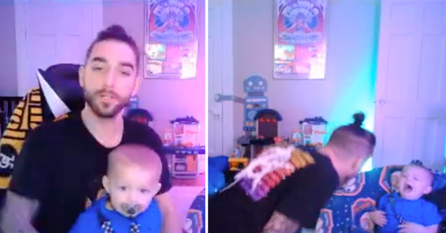 twitch streamer yelling at his infant son