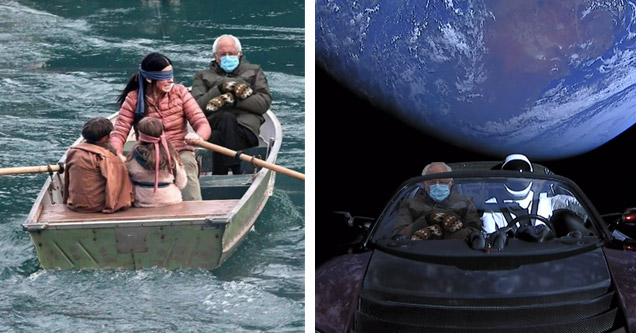 unfazed bernie sanders sitting in the boat from birdbox and sitting in a tesla with spaceman