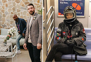 cool pics - Dave Chappelle photo-bombing a couples wedding pictures -  cute woman wearing a motorcycle helmet on the subway