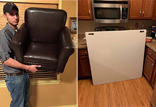 man holding a small leather chair -  huge xxxl sized cutting board