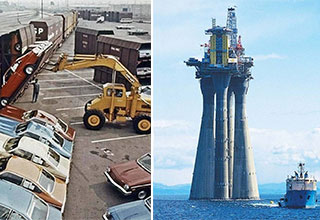 fascinating photos -  cars being loaded onto a train -  an oil rig in the ocean before being sunk into the sea