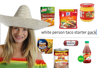 white lady woman wearing a sombrero - white person taco starter pack