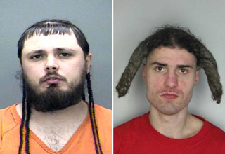 These are a real trip. These mugshots are some of the weirdest ones we've ever seen. Their haircuts are not ones I would want to have.