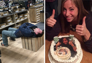man sleeping uncomfortably on bench in shoe store while waiting for woman - woman giving thumbs up with birthday cake with her face on it